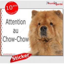 "Chow-Chow, autocollant ""Attention au Chien"" 16 x 12 cm"