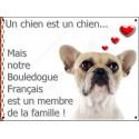 """Bouledogue Français, plaque """"Membre de la Famille"""" 16 cm LOVE"""
