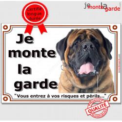 "Mastiff Tête, plaque portail ""Je Monte la Garde"" 2 tailles LUXE"