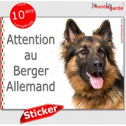 """Berger Allemand noir et feu poils longs, panneau autocollant """"Attention au Chien"""" Pancarte photo sticker adhésif"""