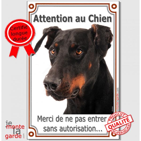 Dobermann Tête, Plaque Portail Attention au Chien verticale, interdit sans autorisation, pancarte, affiche panneau
