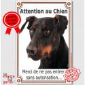"""Dobermann Tête, plaque verticale """"Attention au Chien"""" 24 cm LUXE"""