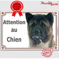 """Akita Américain bringé Tête, pluriel pour plaque portail """"Attention au Chien"""" bringué marron pancarte panneau photo"""