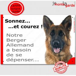 """Pancarte portail Attention au Chien humour """"Sonnez et courez, notre Berger Allemand poils mi-longs a besoin de se dépenser"""" phot"""
