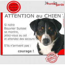 """Bouvier Suisse Appenzell tête, plaque portail """"Jetez Vous au Sol, Attention au Chien"""" pancarte panneau humour drôle photo"""