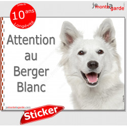 """Berger Blanc Suisse, panneau autocollant """"Attention au Chien"""" Pancarte photo sticker adhésif"""