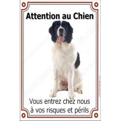 Landseer Assis, Plaque Portail Attention au Chien verticale, risques périls, pancarte, affiche panneau