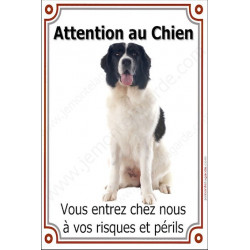 Plaque 24 cm LUXE, Attention au Chien, Landseer Assis