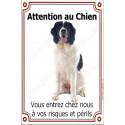 Plaque 24 cm LUXE, Attention au Chien, Landseer Assis