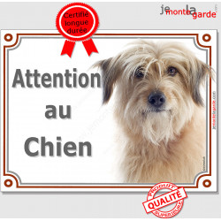 """Labrit fauve, plaque portail""""Attention au Chien"""" pancarte photo berger des Pyrénées sable panneau beige marron"""