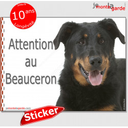 "Beauceron, autocollant ""Attention au Chien"" 16 x 12 cm"
