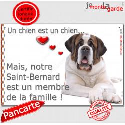 Saint-Bernard Couché, Plaque Portail un chien est un chien, membre de la famille, pancarte, affiche panneau st-bernard