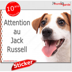 "Jack Russell Terrier blanc fauve, disque autocollant ""Attention au Chien"" Sticker panneau photo adhésif"