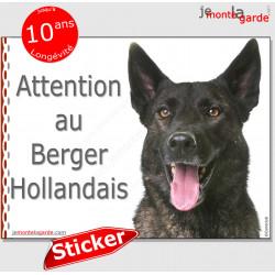 """Berger Hollandais, panneau autocollant """"Attention au Chien"""" pancarte sticker photo portail entrée boîte lettres adhésif"""