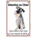 """Schnauzer Poivre et Sel Assis, plaque """"Attention au Chien"""" 24 cm LUXE"""