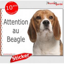 """Beagle, autocollant """"Attention au Chien"""" 16 x 12 cm"""