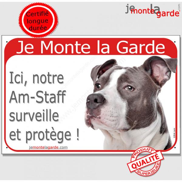 """Am-Staff Bleu Tête, Plaque Portail rouge """"Je Monte la Garde, surveille protège"""" pancarte, affiche panneau amstaff photo"""