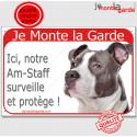 """Am-Staff Bleu, plaque rouge """"Je Monte la Garde"""" 24 cm RED"""