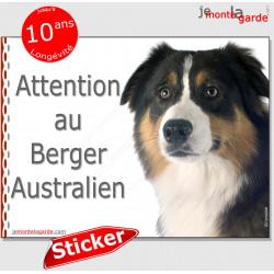 """Berger Australien tricolore noir, panneau autocollant """"Attention au Chien"""" pancarte affiche photo Aussie sticker"""
