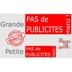 """""""Pas de Publicités, merci !"""" Plaque rouge pancarte, affiche panneau ou autocollant sticker boite aux lettres, STOP prospectus"""