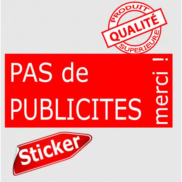 """""""Pas de Publicités, merci !"""" Plaque rouge pancarte, affiche panneau autocollant sticker boite aux lettres, STOP prospectus"""