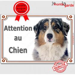 """Berger Australien bleu merle, plaque portail """"Attention au Chien"""" pancarte panneau photo aussie"""
