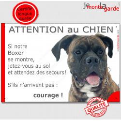 """Boxer, plaque humour """"Jetez Vous au Sol, Attention au Chien"""" 24 cm JET"""