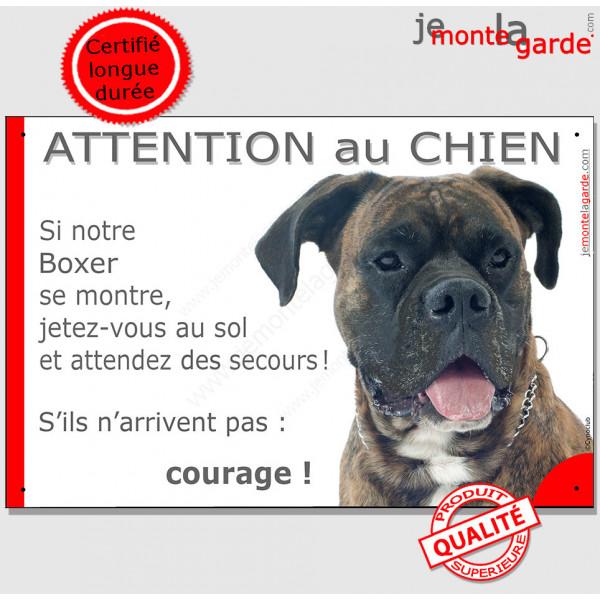 """Boxer bringé, plaque humour """"Jetez Vous au Sol, Attention au Chien"""" Pancarte photo drôle, panneau marrant amusant rigolo"""