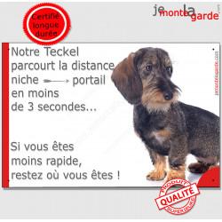 """Teckel Poils Durs, plaque humour """"distance Niche - Portail"""" 24 cm 3SEC"""