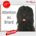 """Briard noir, autocollant """"Attention au Chien"""" 16 x 12 cm"""