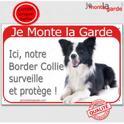 "Border Collie, plaque rouge ""Je Monte la Garde"" 24 cm RED"
