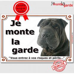 """Shar-Peï noir, plaque """"Je Monte la Garde"""" 2 tailles LUX C"""
