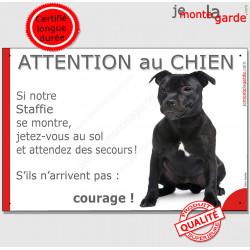 """Staffie noir, plaque """"Attention au Chien, Jetez Vous au Sol"""" 24 cm JET"""