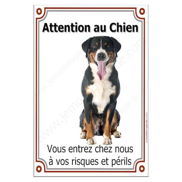 Bouvier Suisse Assis, Plaque Portail Attention au Chien verticale, risques périls, pancarte, affiche panneau