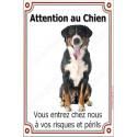 Plaque 24 cm LUXE, Attention au Chien, Bouvier Suisse Assis