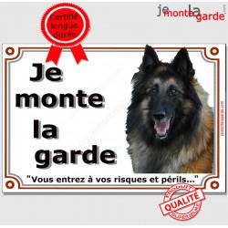 """Berger Belge Tervueren, plaque portail """" Je Monte la Garde, risques et périls"""" pancarte panneau attention au chien photo"""