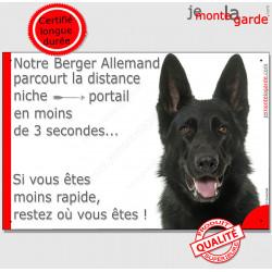 """Berger Allemand noir, plaque humour """"distance Niche - Portail"""" 24 cm 3SEC"""