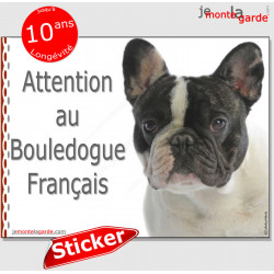 "Bouledogue Français, autocollant ""Attention au Chien"" 16 x 12 cm"
