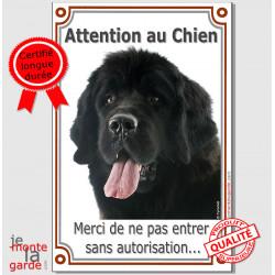"""Terre Neuve, plaque verticale """"Attention au Chien"""" 24 cm VLC"""