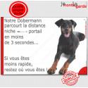 """Dobermann, plaque humour """"distance Niche - Portail"""" 24 cm 3SEC"""