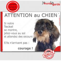 """Teckel poils durs sanglier, plaque portail humour """"Attention au chien, Jetez Vous au Sol, courage"""" pancarte drôle panneau photo"""
