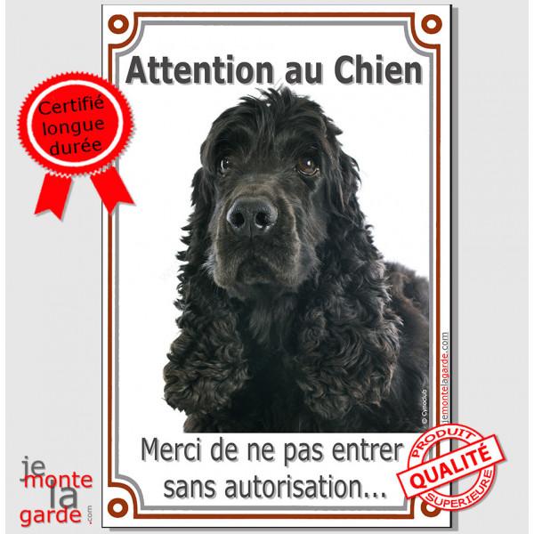"""Cocker Anglais Noir, Pancarte Portail Verticale """"Attention au Chien, interdit sans autorisation"""" panneau affiche photo"""
