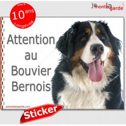 """Bouvier Bernois, autocollant """"Attention au Chien"""" 16 x 12 cm"""