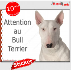 "Bull Terrier tout blanc, panneau autocollant ""Attention au Chien"" pancarte photo sticker adhésif"