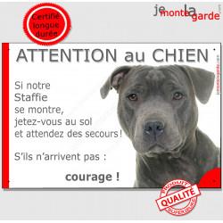 """Staffie bleu, plaque """" Jetez Vous au Sol, Attention au Chien"""" 24 cm JET"""