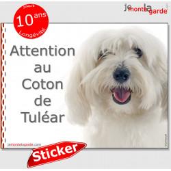 """Coton de Tuléar, autocollant """"Attention au Chien"""" 16 x 12 cm"""