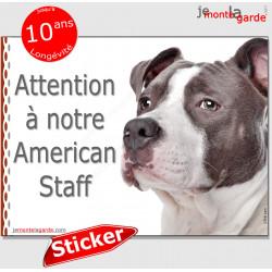 """Amstaff, panneau autocollant """"Attention au Chien"""" pancarte sticker adhésif photo American Staffordshire Terrier gris bleu"""