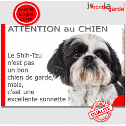 """Plaque portail humour """"Attention au Chien, notre Shih-Tzu est une sonnette"""" pancarte photo drôle garde panneau marrant amusant r"""