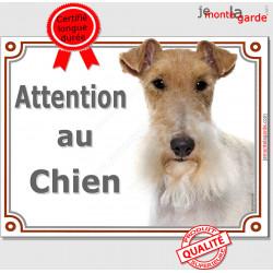 """Fox Terrier poils durs Tête, pancarte portail """"Attention au Chien"""" panneau Fox photo toiletté épilé Plaque entrée rue"""