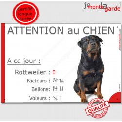 """Rottweiler, plaque """"Nombre de Voleurs, ballons, facteurs, Attention au Chien"""" 24 cm NBR"""